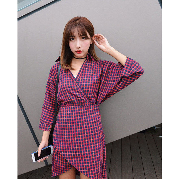 plaid bat sleeves dress