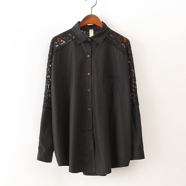 Batwing Lace Shirt - black