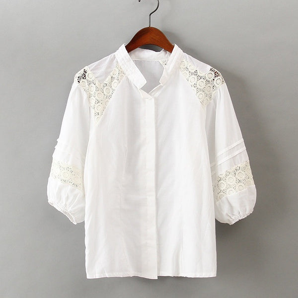 Pleats Lace Shirt - front