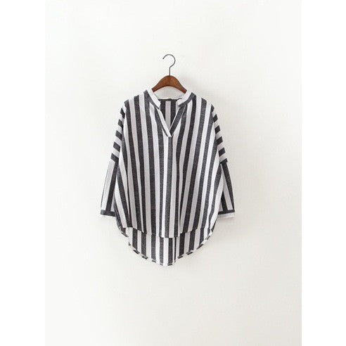 wide stripe bat sleeves shirt - Sensibilitie 1