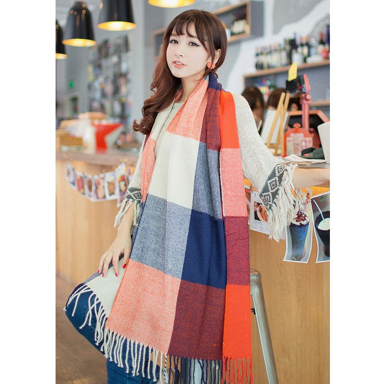 Mad About You Plaid Scarf - blue/orange
