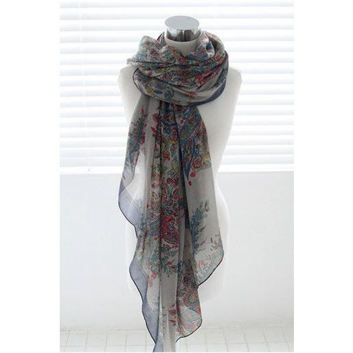 Floral Sophistication Scarf - navy tone