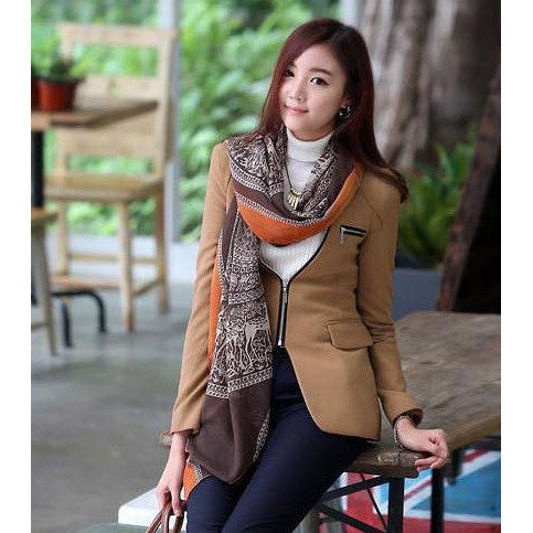 Ethnic Print Scarf - brown tone