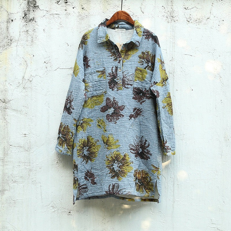 Bursting Blossoms Tunic Top - lbue tone