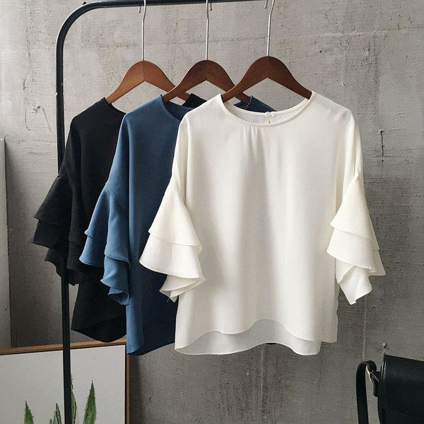 tiered bell sleeves blouse