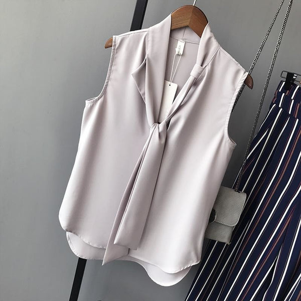 bow tie sleeveless blouse