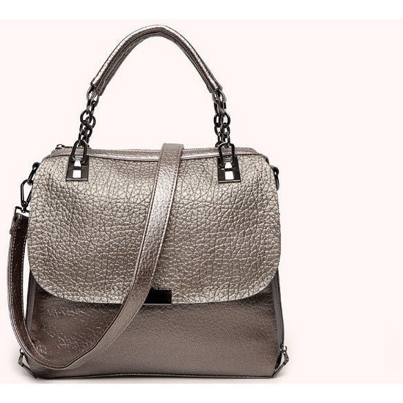 leather champagne handbag