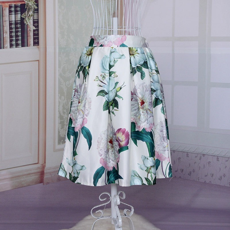 Blooms of Tranquility Skirt - white tone