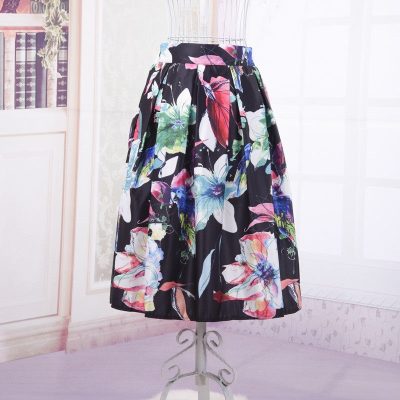Watercolor Floral Painting Skirt - black tone