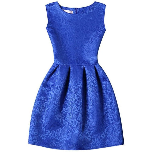 royal blue fit and flare party dress