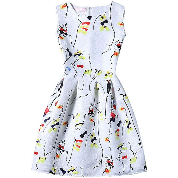 Cute bowtie print party dress