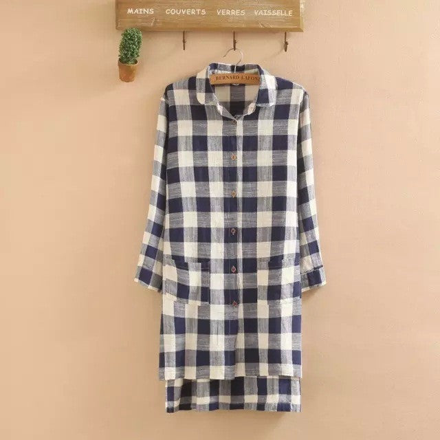 Homework Checklist Shirt Dress - blue and white