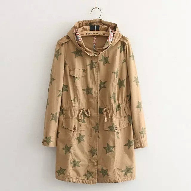 khaki retro drawstring military jacket
