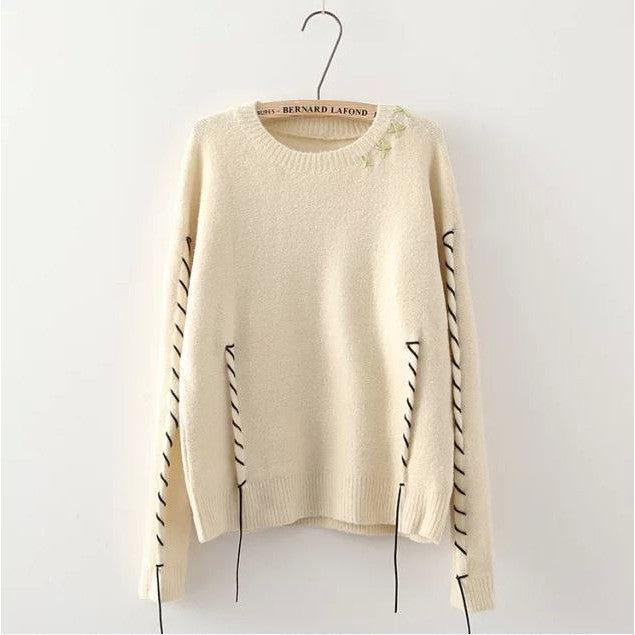 Leather Weaving Sweater