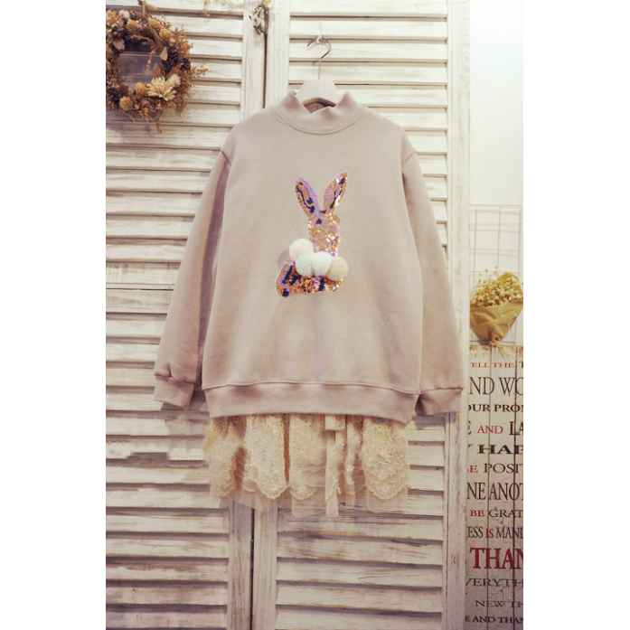 Sequined Furry Bunny Sweats - pink