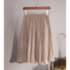 tan natural material A-line skirt
