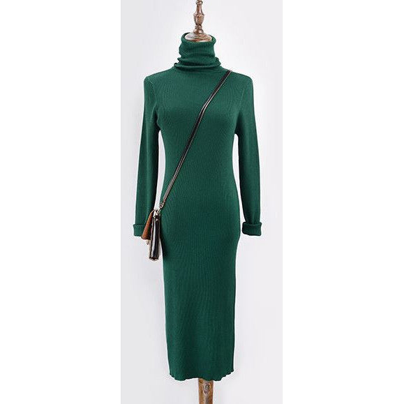 Slim Fit Turtleneck Knit Dress - green