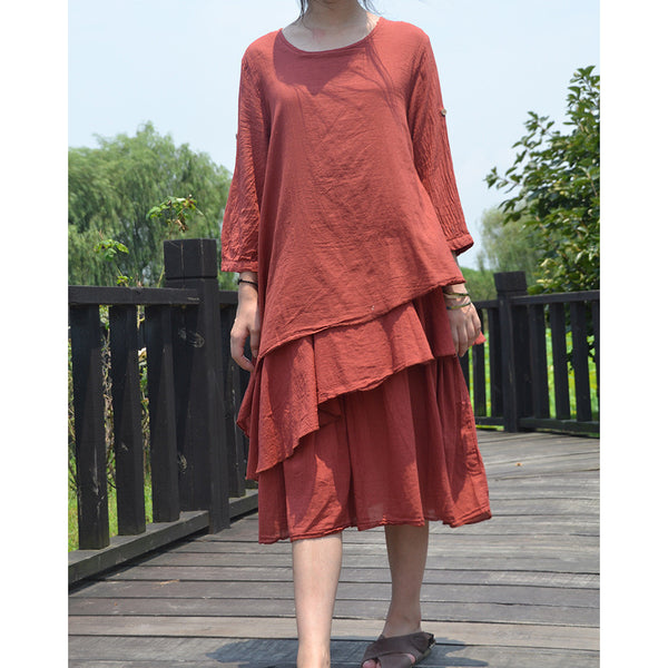 Folk Revival Layers Dress - rustic coral