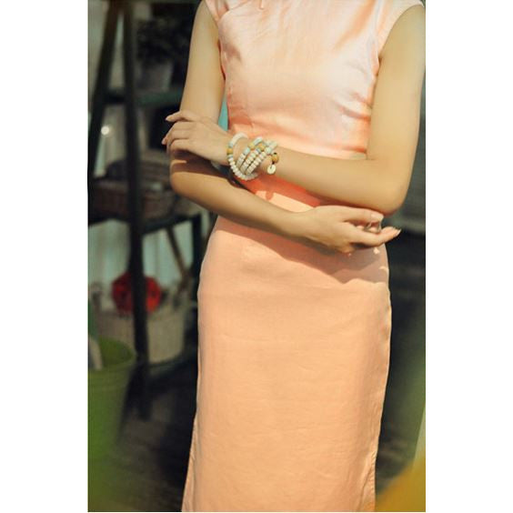 cotton qipao dress - light coral