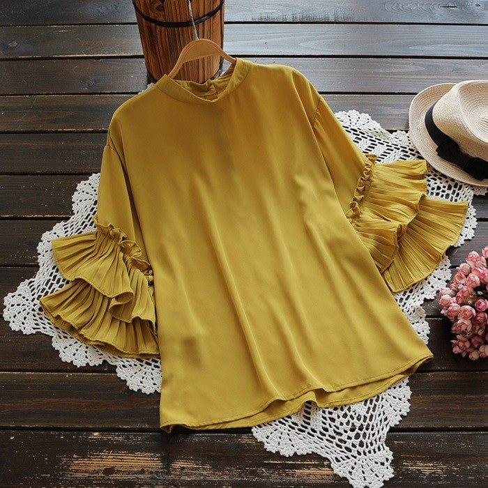 tiered pleated sleeve blouse