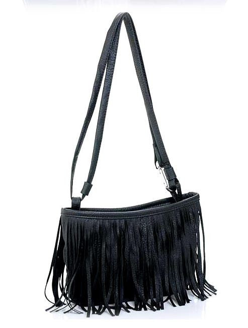 Simple fringe handbag - black