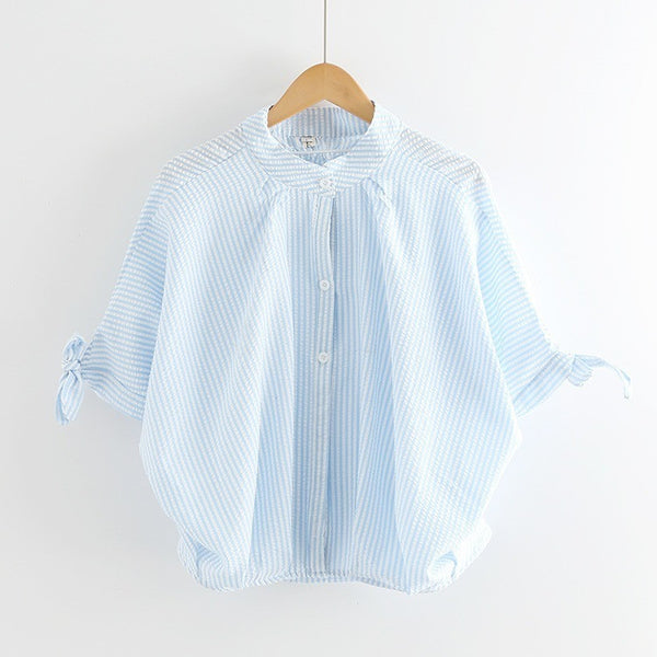 blue pinstripe ribbon shirt