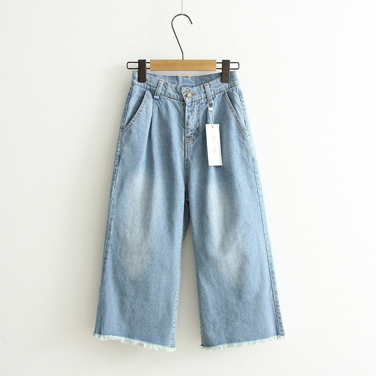 fraying wide legged pants