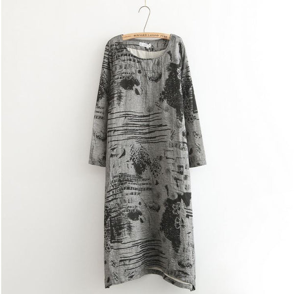 Abstract Painting Dress - grey tone