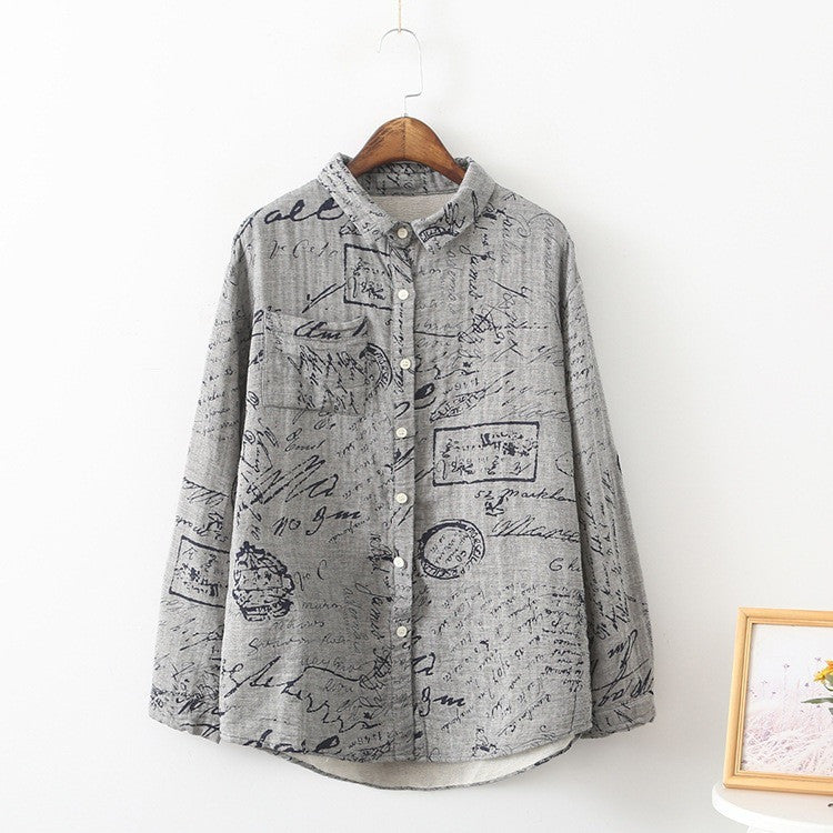Graphic Calligraphy Shirt - grey
