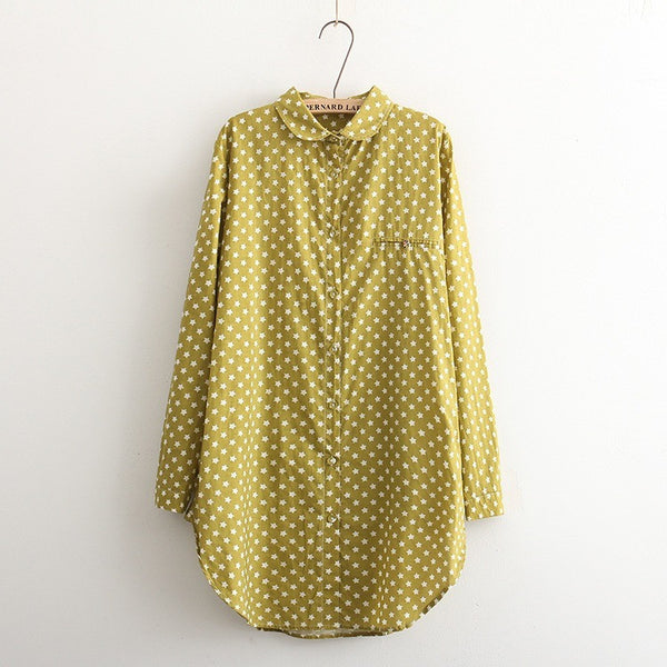 retro star print cotton shirt