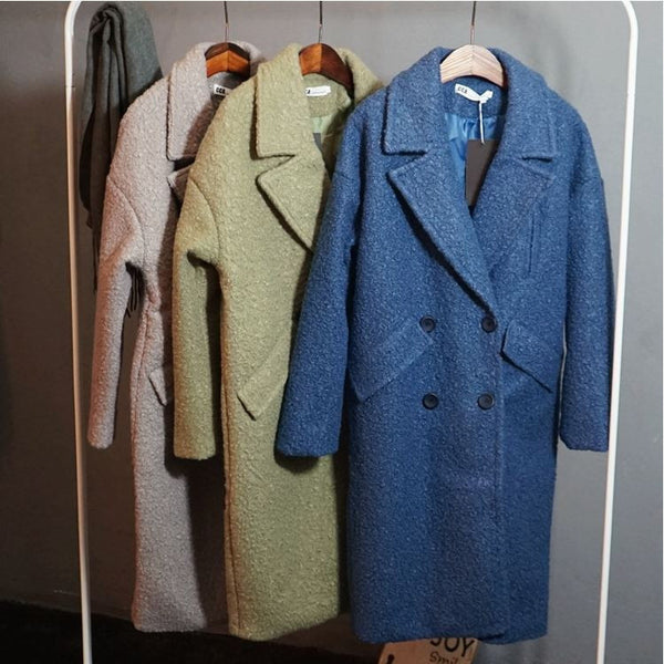 vintage inspired boucle long coat