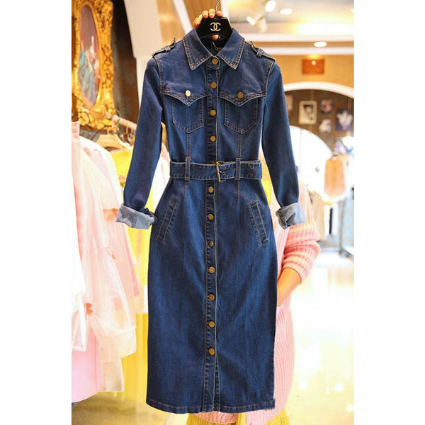Past-Perfect & Present Trench Denim Dress - blue