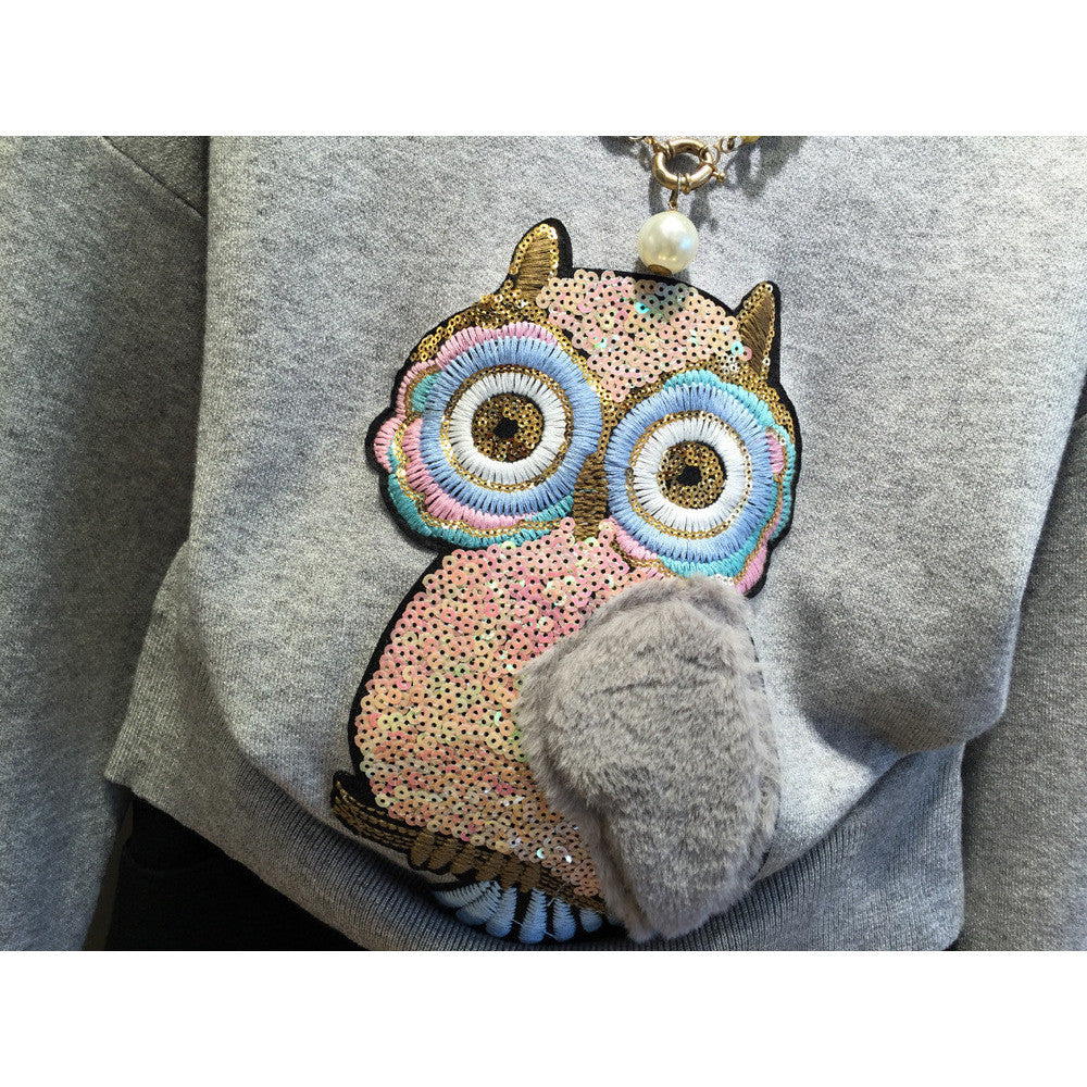 3-D owl sweater top