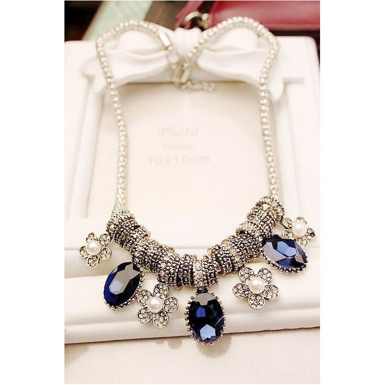 Midnight Blue Stone Statement Necklace