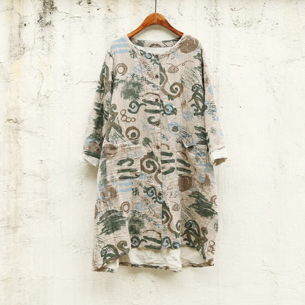 Archeology 101 Shirt Dress - green tone