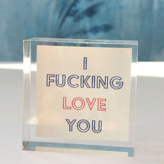 I f*ing love you acrylic block
