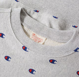 Champion All Over Embroidered Crew Sweat Grey