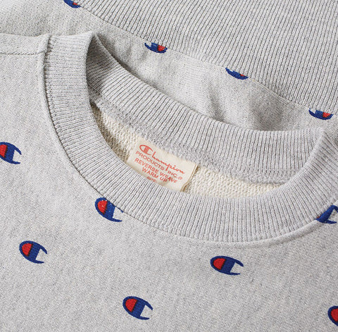 Champion Reverse Weave All Over Embroidered Crew Sweat Grey