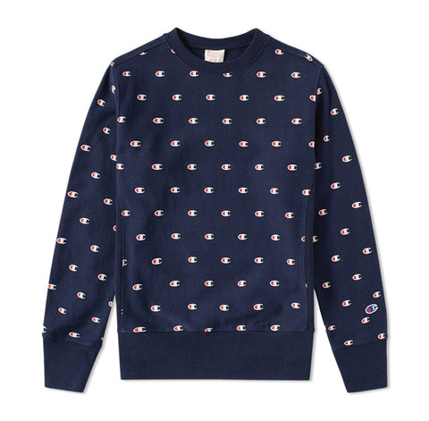 Champion Reverse Weave All Over Embroidered Crew Sweat Navy