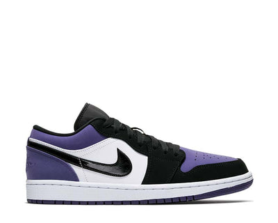 Air Jordan 1 Low White / Black - Court Purple 553558-125