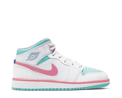 Air Jordan 1 Mid White / Digital Pink - Aurora Green - Soar 555112-102