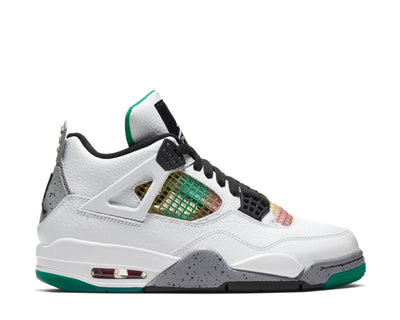 Air Jordan 4 Retro White / Black - University Red - Lucid Green AQ9129-100