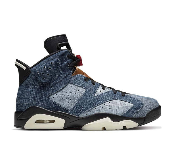 Air Jordan 6 Washed Denim / Black - Sail - Varsity Red CT5350-401