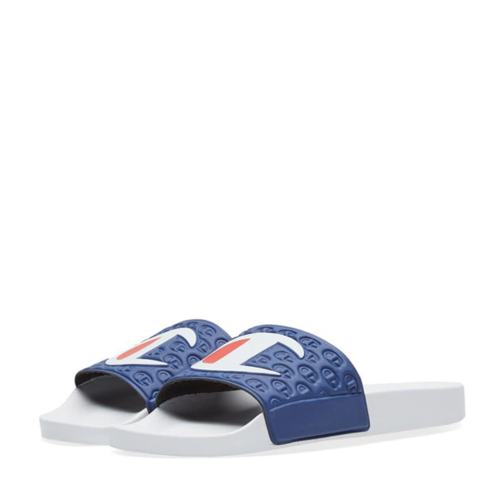 Champion Logo Slide White Navy S20690 S18 BS036