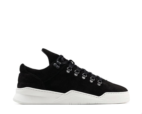 Filling Pieces Mountain Cut Ghost Waxed Suede Black White