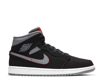 Jordan 1 Mid Black / Particle Grey - White - Gym Red 554724-060