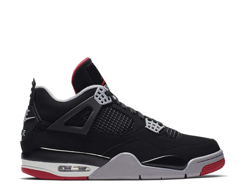 Nike Air Jordan 4 Bred Black Cement Grey Summit White Fire Red 308497-060