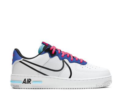 Nike Air Force 1 React White / Black - Astronomy Blue - Laser Crimson CT1020-102
