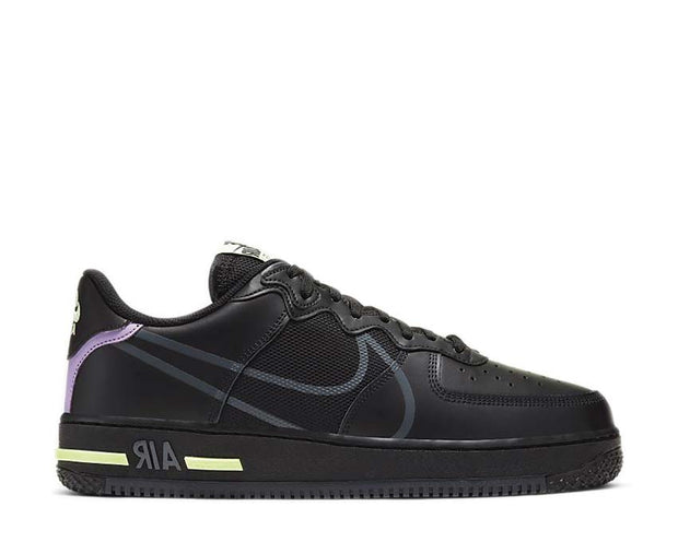 Nike Air Force 1 React Black / Anthracite - Violet Star - Barely Volt CD4366-001