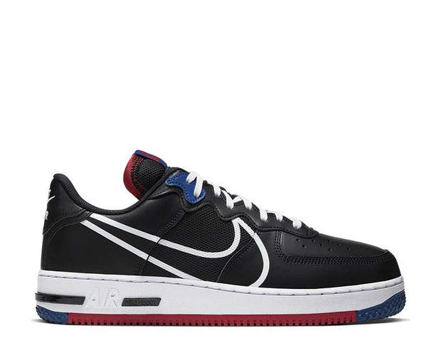 Nike Air Force 1 React Black / White - Gym Red - Gym Blue CT1020-001